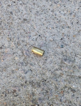 Bullet shell in front of the hostel in Ilhabela, Brazil
