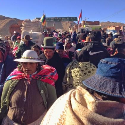 Crossing the bridge at Desaguadero, Peru & Bolivia