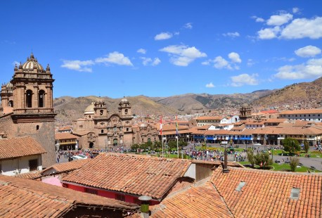 Plaza de Armas from Colegio Real San Francisco de Borja in Cusco, Peru