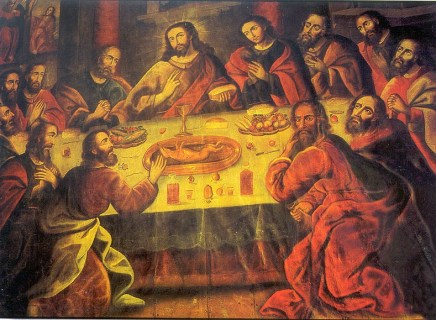 The Last Supper at Catedral del Cusco (Image from Wikipedia article on Marcos Zapata) on Plaza de Armas in Cusco, Peru