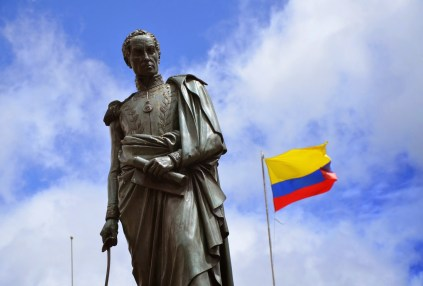 Simón Bolívar monument in Plaza de Bolívar, La Candelaria, Bogotá, Colombia