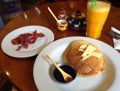 Big Fluffy Pancakes at Jack's Café in Cusco, Peru