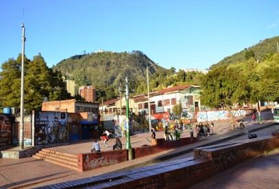 A plaza near Chorro de Quevedo in La Candelaria, Bogotá, Colombia