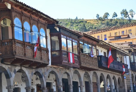 Portals and balconies on Plaza de Armas in Cusco, Peru