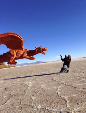 Me battling a dragon at Salar de Uyuni, Bolivia