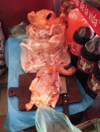 Hungry? Chicken in a corner store in La Paz, Bolivia