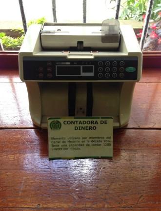 Medellín Cartel money counter Museo Histórico de la Policía Nacional in La Candelaria, Bogotá, Colombia