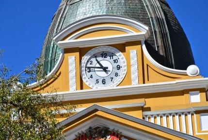 Clock on the Palacio de Gobierno in La Paz, Bolivia