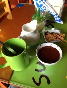 Hot chocolate at ChocoMuseo in Cusco, Peru