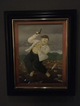 Botero's depiction of the death of Pablo Escobar at Museo de Antioquia in Medellín, Antioquia, Colombia