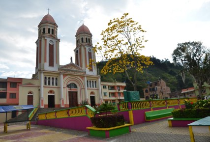 Plaza and church in Mistrató, Risaralda, Colombia