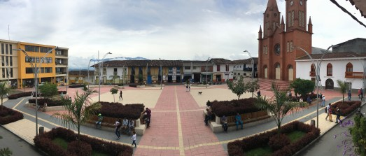 Lower plaza in Anserma, Caldas, Colombia
