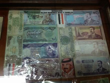 International money in the history gallery at Museo Eliseo Bolívar in Belén de Umbría, Risaralda, Colombia