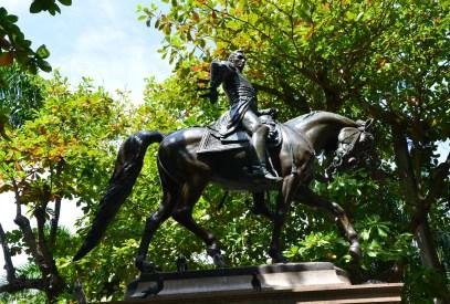 Statue of Simón Bolívar in Parque de Bolívar in El Centro, Cartagena, Bolívar, Colombia