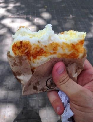 Arepa con queso in El Centro, Cartagena, Colombia