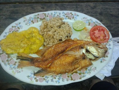 Fish lunch at Tayrona National Park in Colombia