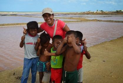 Marisol with Wayúu children in Manaure, La Guajira, Colombia