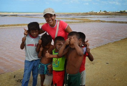 Marisol with Wayúu children in Manaure, La Guajira, Colombia