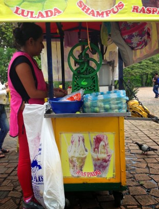 Juice stand in Parque Jorge Isaacs, Cali, Colombia