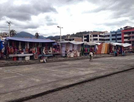 Morning at Plaza de los Ponchos in Otavalo, Ecuador
