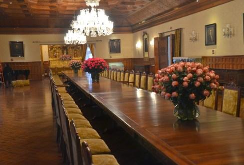 Dining room at Palacio de Carondelet on Plaza Grande in Quito, Ecuador