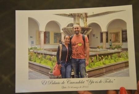 Souvenir photo at Palacio de Carondelet on Plaza Grande in Quito, Ecuador