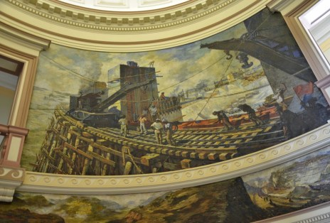 Panama Canal Administration Building mural in Balboa, Panama City