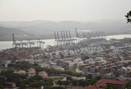 View of Panama Canal from Cerro Ancón in Panama City