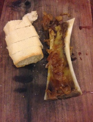 Beef bone marrow with caramelized onions at Manolo Caracol in Casco Viejo, Panama City
