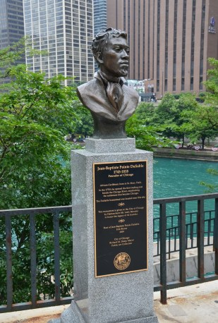 Bust of DuSable at Pioneer Court in Chicago
