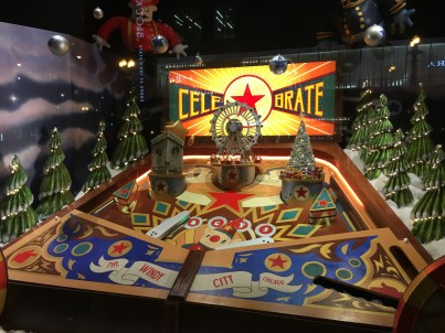 Pinball-themed holiday window display at Macy's in Chicago, Illinois