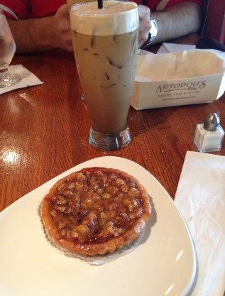 Walnut Tart and Frappé at Artopolis Bakery and Café in Greektown Chicago
