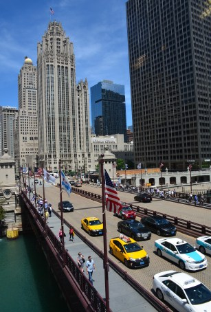 View from the Michigan Avenue Bridgehouse at the McCormick Bridgehouse and Chicago River Museum in Chicago, Illinois