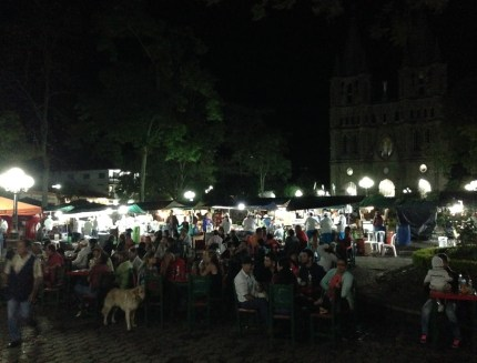 Plaza at night in Jardín, Antioquia, Colombia