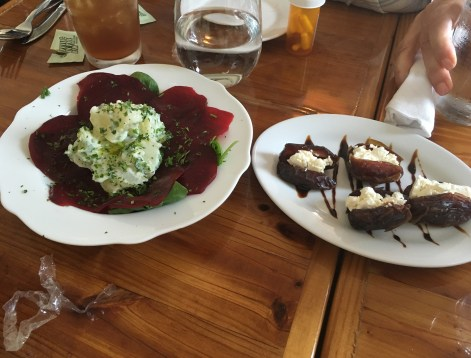 Beets with potatoes and dates stuffed with feta cheese at Meditrina in Valparaiso, Indiana