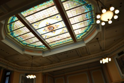 Stained glass ceiling in the House Chamber at the Wyoming State Capitol in Cheyenne