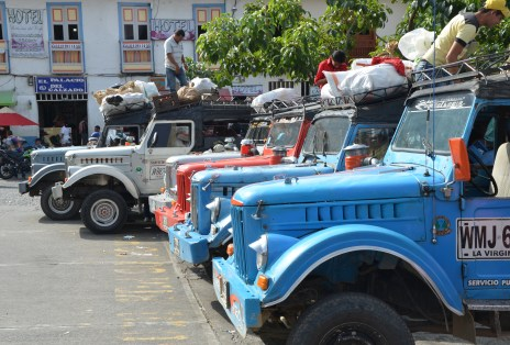 Jeeps lined up in the plaza of Belén de Umbría, Risaralda, Colombia