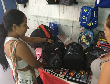 Shopping for backpacks in Belén de Umbría, Risaralda, Colombia