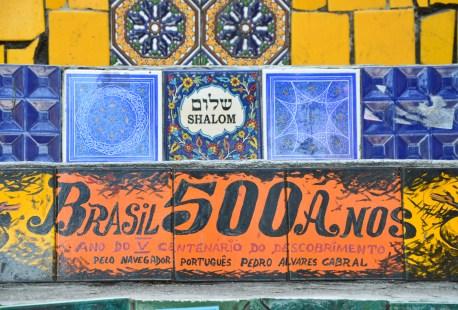 500th anniversary of the discovery of Brazil at Escadaria Selarón in Rio de Janeiro, Brazil