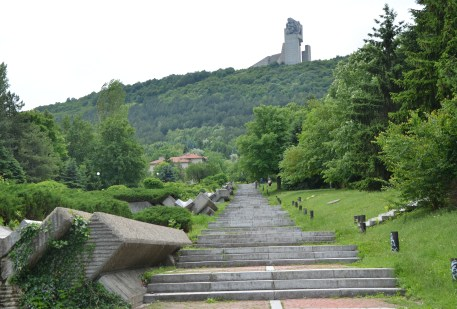 The steps up to the Founders of the Bulgarian State Monument in Shumen, Bulgaria