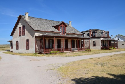 Post surgeon's quarters (left) & lieutenant colonel's quarters (right) at Fort Laramie National Historic Site in Wyoming
