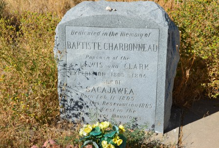 Monument to Jean-Baptiste Charbonneau at the Sacajawea gravesite in Fort Washakie, Wyoming
