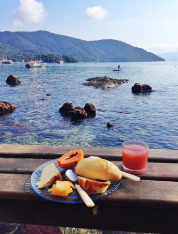 Breakfast at Aquário Hostel on Ilha Grande, Brazil