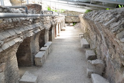 Latrine at the Roman baths in Varna, Bulgaria