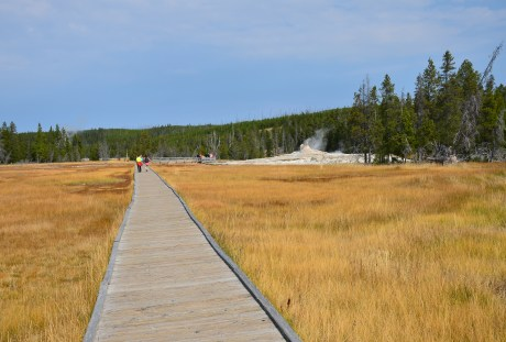 Boardwalk to Giant Group at the Upper Geyser Basin in Yellowstone National Park, Wyoming