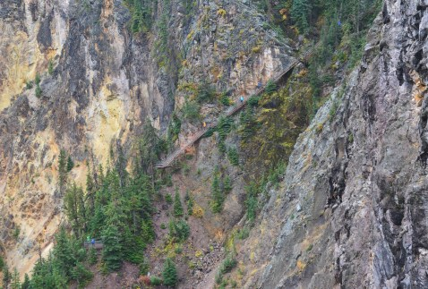 Uncle Tom's Trail from Brink of the Lower Falls at Grand Canyon of the Yellowstone in Yellowstone National Park, Wyoming