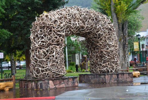 Elk antler arch in Jackson, Wyoming