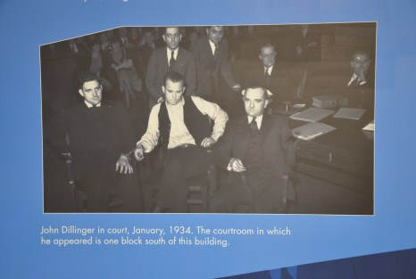 Dillinger at his court appearance at the John Dillinger Museum in Crown Point, Indiana