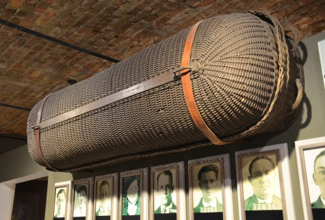 The basket that carried Dillinger's body to Indiana at the John Dillinger Museum in Crown Point, Indiana