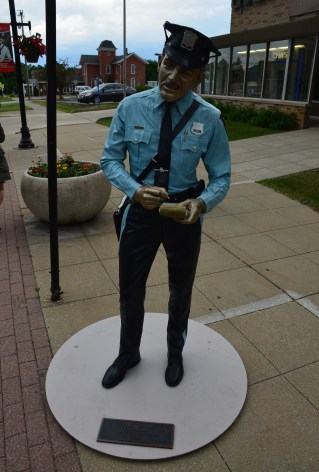 Police officer statue on the square in Crown Point, Indiana